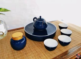 霁蓝灵巧壶套组+旅行包 TEA SET
